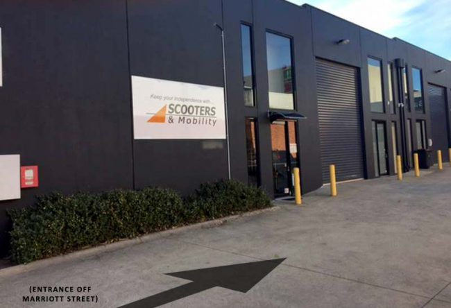 Entrance to Scooters & Mobility Melbourne warehouse